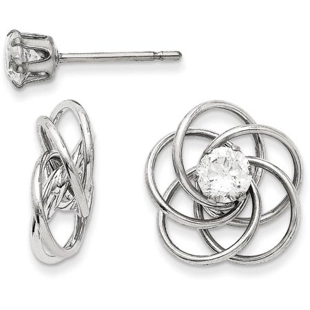 - CZ 14kt White Gold Fancy Knot Stud Earring Jackets