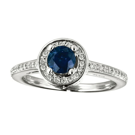 14k White Gold Sapphire and Diamond Double Circle Ring Diamond Double Circle Ring