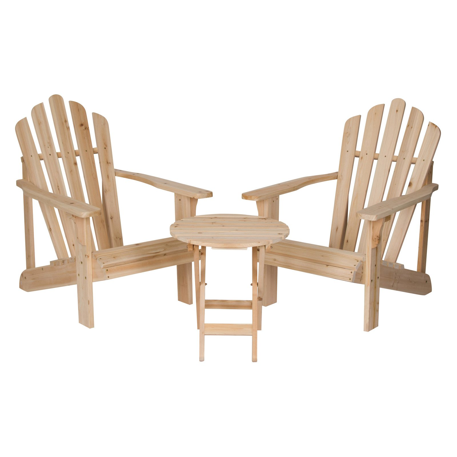 Shine Company  Cedar Adirondack Chair Pair with Side Table - 3 pc. Set