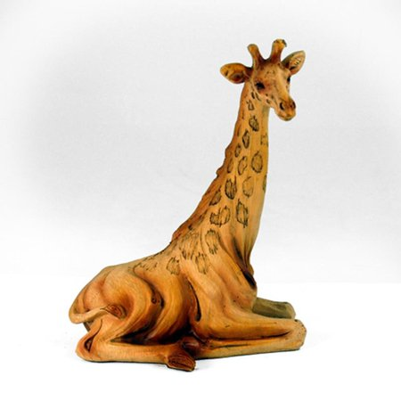6.5 Inch Sitting Giraffe Carving Faux Wood Decorative Figurine, Brown (Hand Carved Wood Figurines)