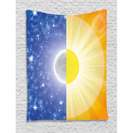 Space Tapestry, Split Design with Stars in the Sky and Sun Beams Solar Balance Nature Image Print, Wall Hanging for Bedroom Living Room Dorm Decor, Blue Yellow, by Ambesonne