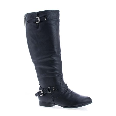 Coco1 by Top Moda, Knee High Ankle Harness Zip Up Riding Boots (High Top Boots)