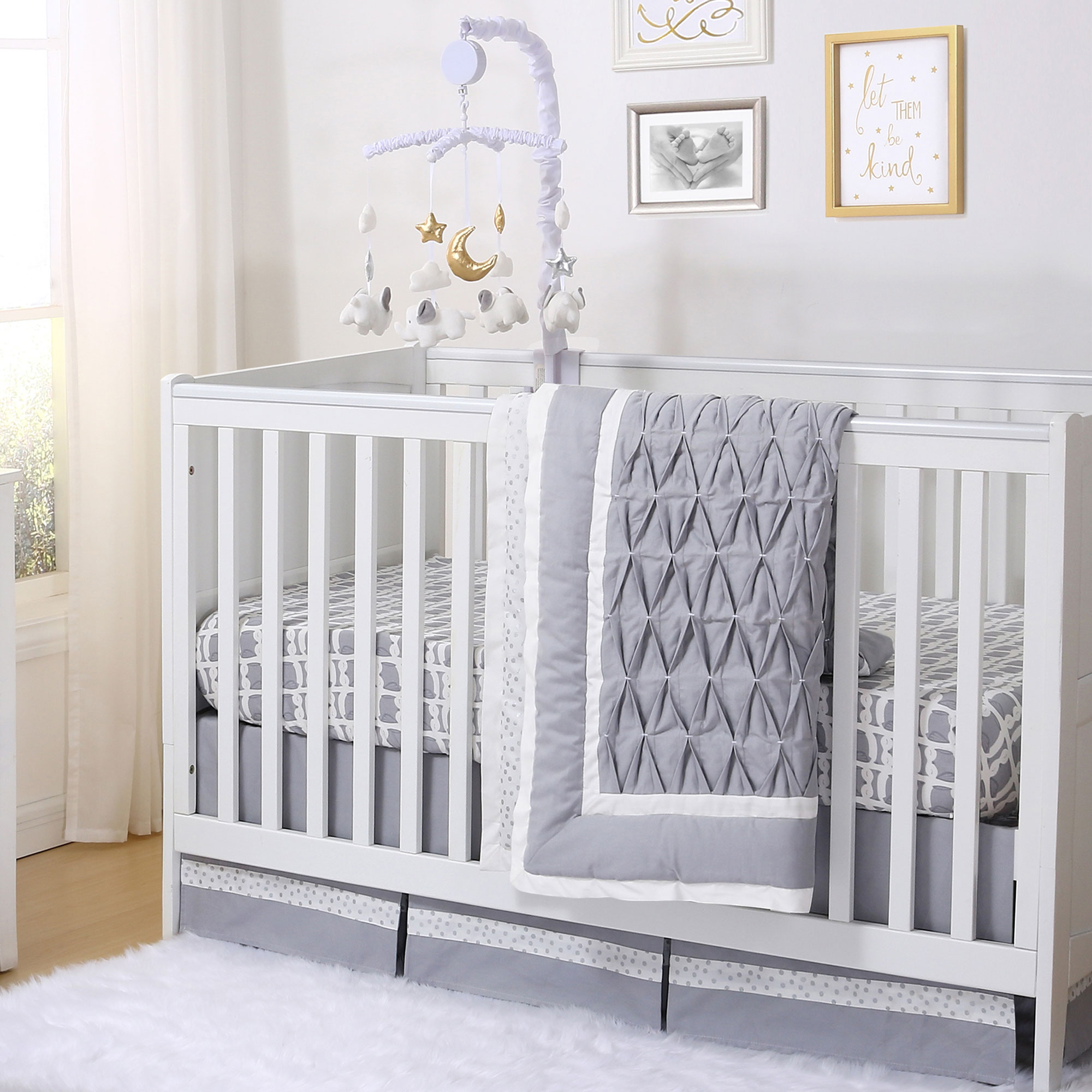 Grey Owl and Silver Dot Pleated 5 Piece Crib Bedding Set by The Peanut Shell