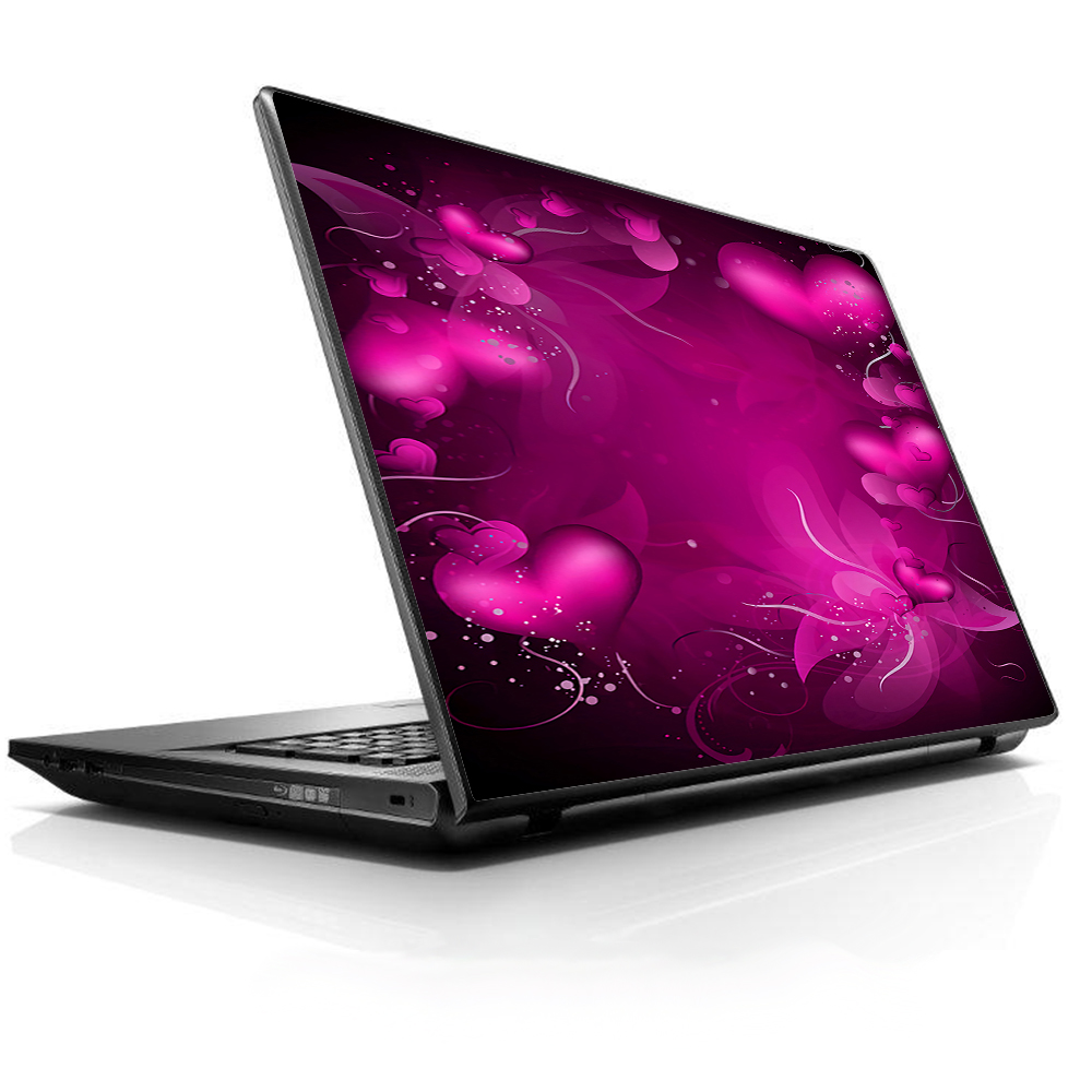 """Laptop Notebook Universal Skin Decal Fits 13.3"""" To 16"""" / Pink Hearts Flowers"""