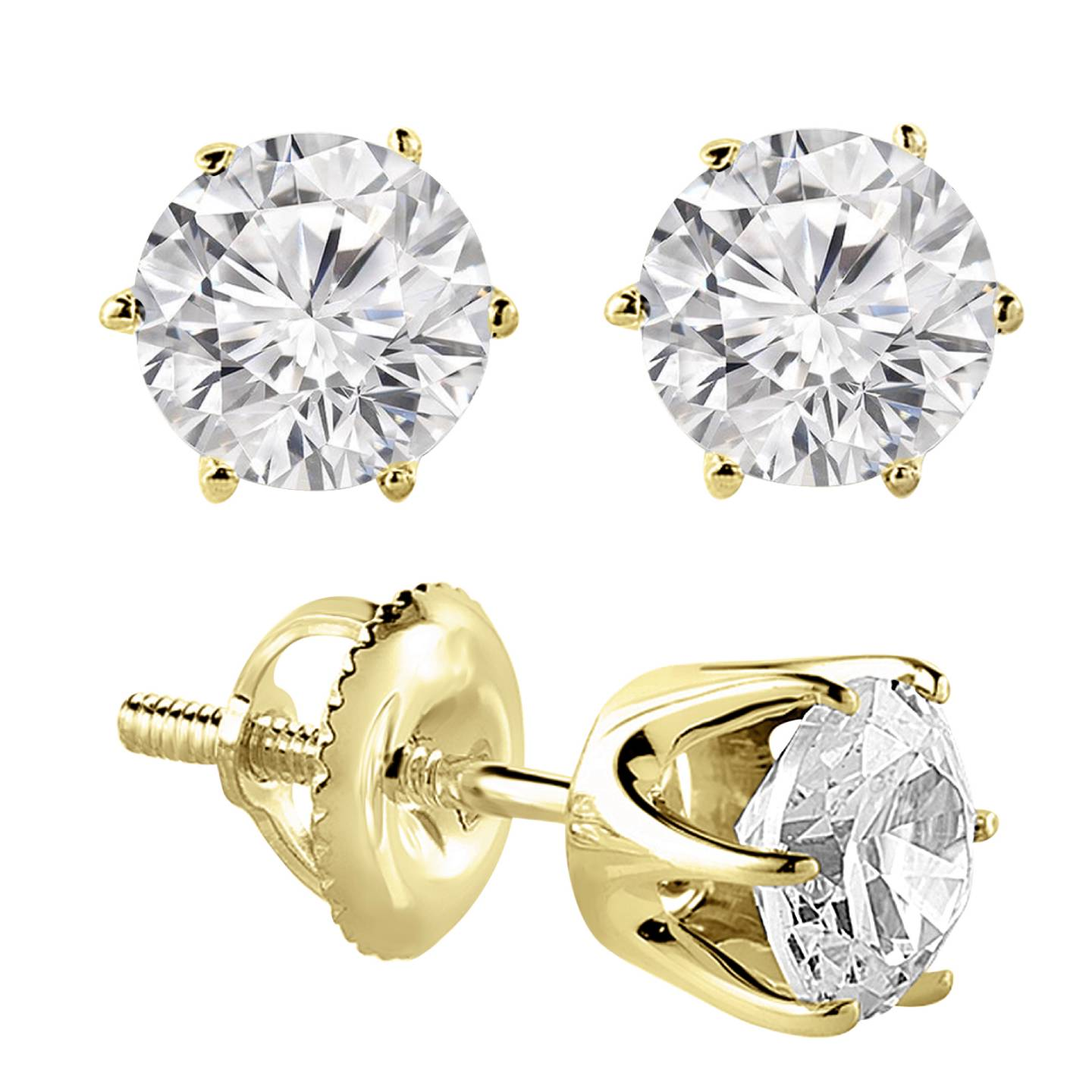 5/8 CTW 6-Prong Solitaire Round Cut Diamond Stud Earrings in 14K Yellow Gold (MD120669) - image 1 of 2