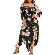 Outtop Fashion Women Off Shoulder Plus Size Lace Up Maxi Flowing Floral Print Dress