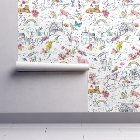 Removable Water-Activated Wallpaper Unicorn Unicorn Rainbow Castle Mermaid