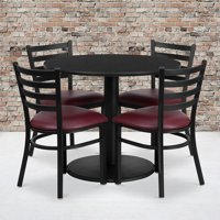 36RD Black Table Set-RD Base & 4 Ladder Back Chairs,Burgundy Seat