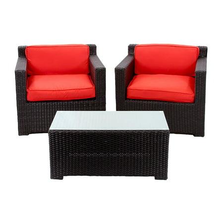 2 Piece Black Resin Wicker Outdoor Patio Furniture Set Red