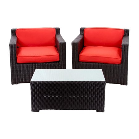 2 Piece Black Resin Wicker Outdoor Patio Furniture Set