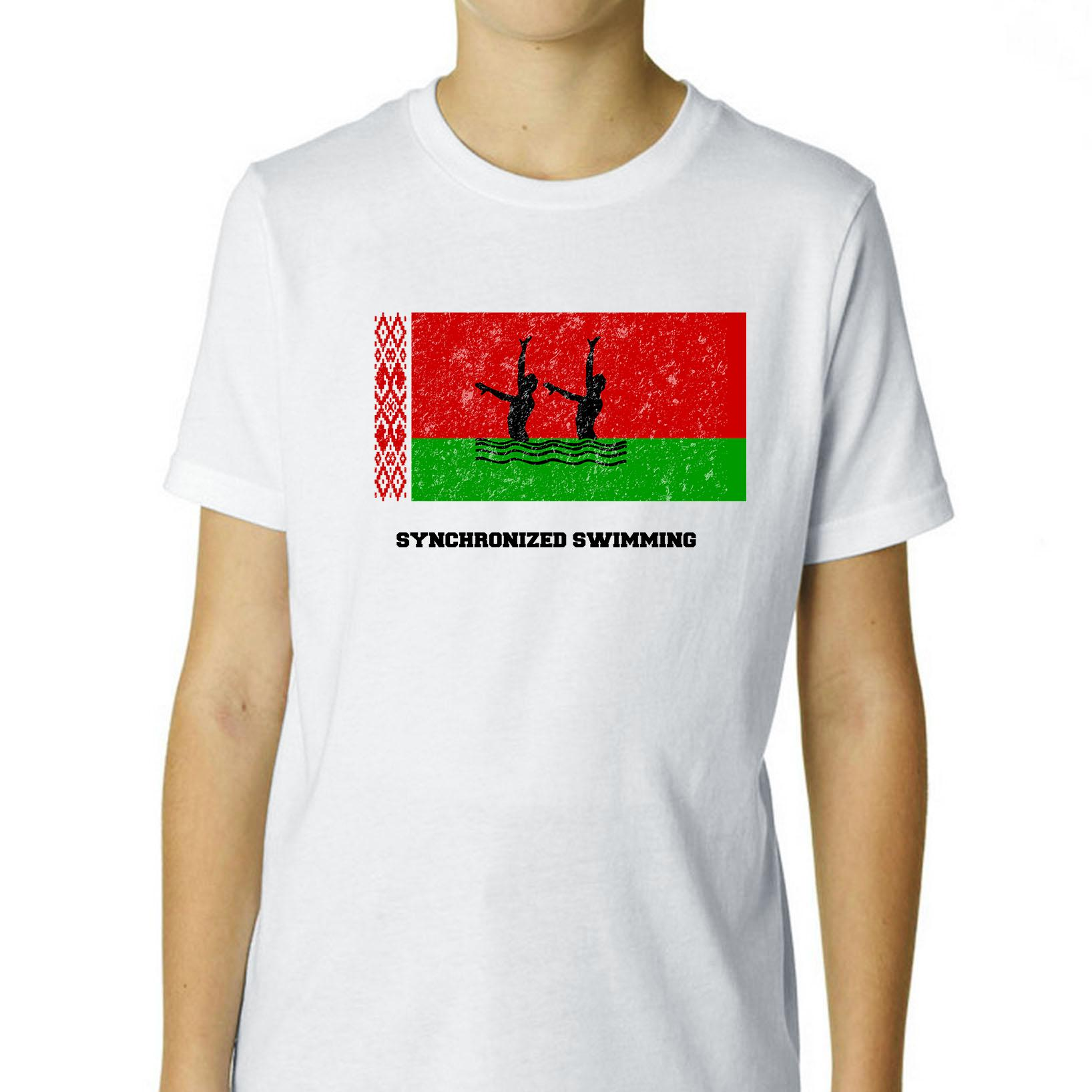 Belarus - Olympic - Synchronized Swimming - Flag - Silhouette Boy's Cotton Youth T-Shirt