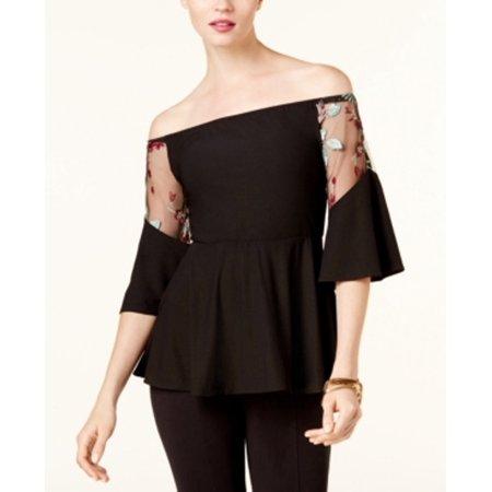 Luxury Cowl Neck Top - ECI Women's Off-The-Shoulder Neck Illusion Blouse Size 6 Black/Blush