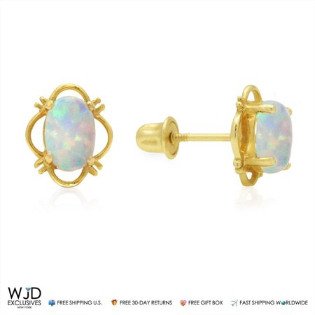 14K Yellow Gold 9mm Oval Shape White Fire Opal Stud Screw back Earrings