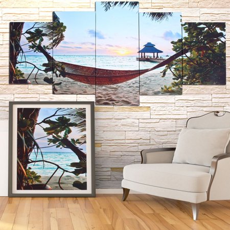 Modern 5 Panel Canvas Home Art Ing Picture Waterproof Wall Decoration Print Framed World Map