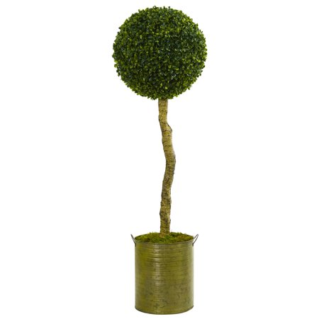 Nearly Natural 4 ft. Boxwood Ball Topiary Artificial Tree in Green Tin Planter UV Resistant (Indoor/Outdoor) Boxwood Pieces 4' King