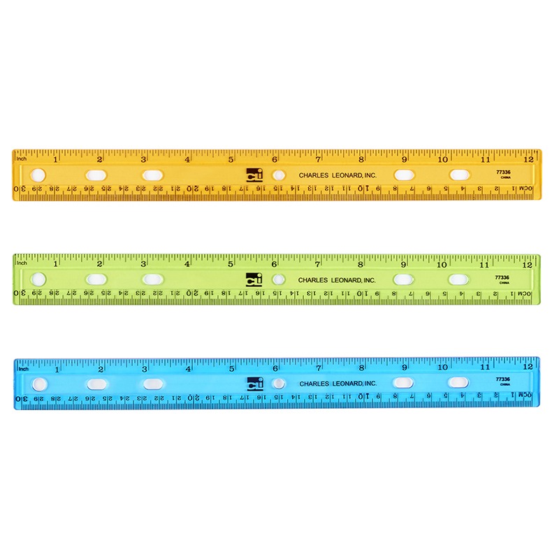 (72 Ea) Translucent 12In Plastic Ruler Asst Colors