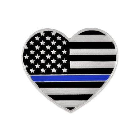 6a0d9ba8d PinMart's Thin Blue Line Police Officer American Flag USA Heart Enamel  Lapel Pin - Walmart.com