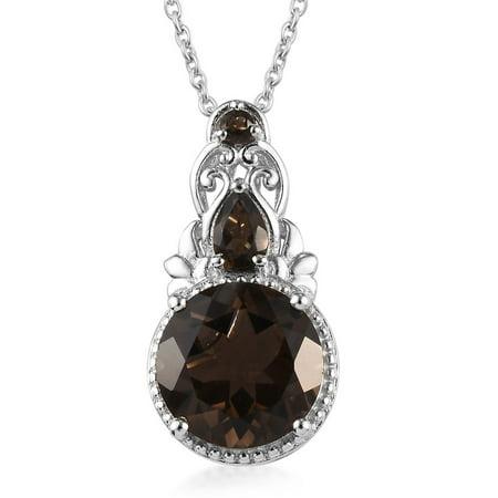KARIS Collection Round Brown Stone Smoky Quartz Elegant Fashion Stylish Pendant Necklace for Women Graduation Gifts for Her 20