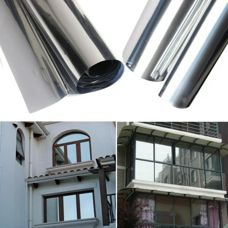 "20"" X 79"" 15% One Way Mirror Window Film Insulation Stickers Decorative Film Silver"