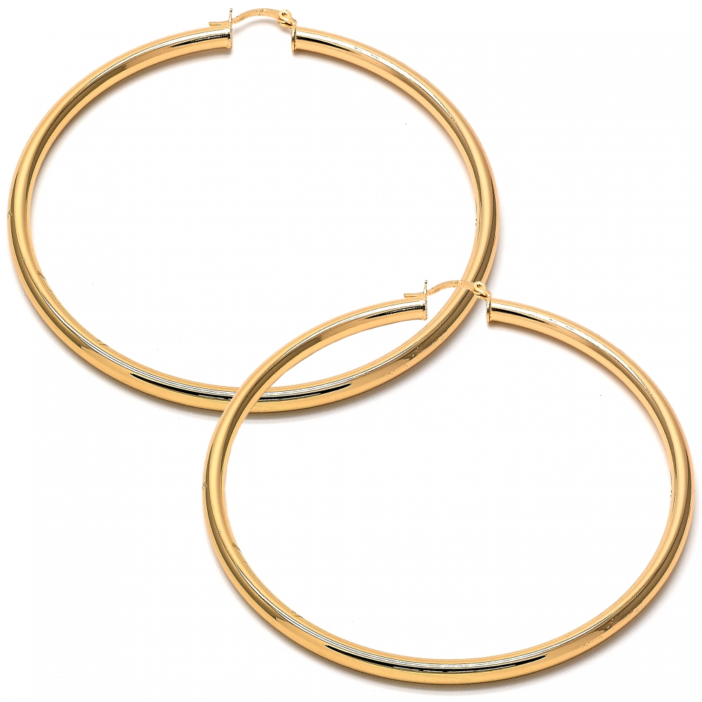 Gold-Tone Ladies Circle Polished Finish and Extra Large Hoop Earrings (70mm x 4mm)