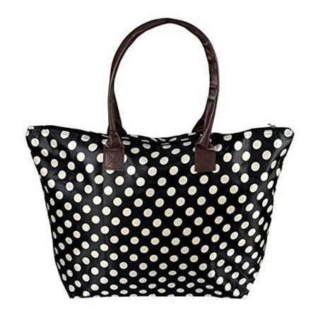 Fashion Polka Dot Tote - Peach Couture Womens Beach Fashion Large Travel Tote Handbag Shoulder Bag Purse Polka Dot Black White