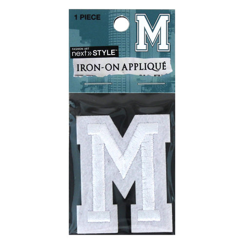 "Next Style Single Embroidery Letter, ""M"", White"