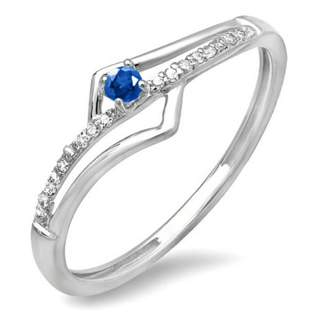 Dazzlingrock Collection 10K Blue Sapphire & White Diamond Wave Promise Engagement Ring, White Gold, Size 8.5