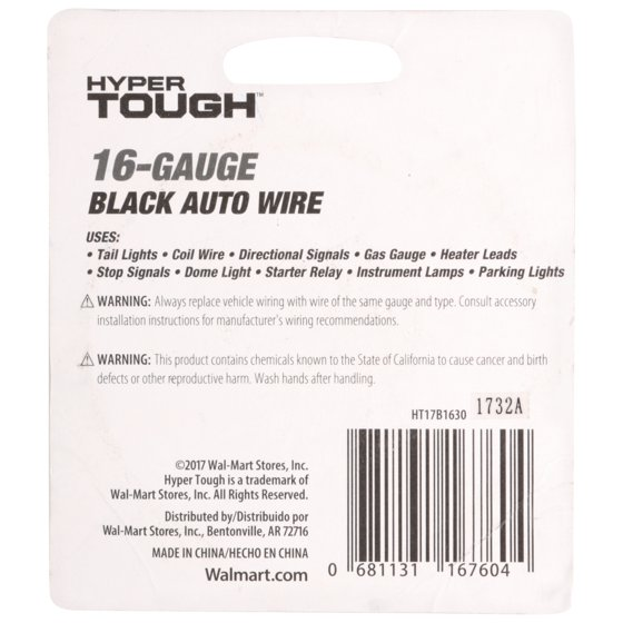 HYPERTOUGH Auto Wire 16 Gauge, 30\' - Walmart.com
