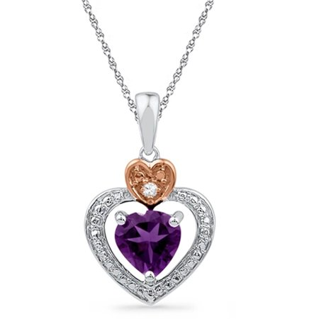 Ladies Two Tone Gold Genuine Diamond & Amethyst Gemstone Heart Pendant (February Birthstone Heart Charm)