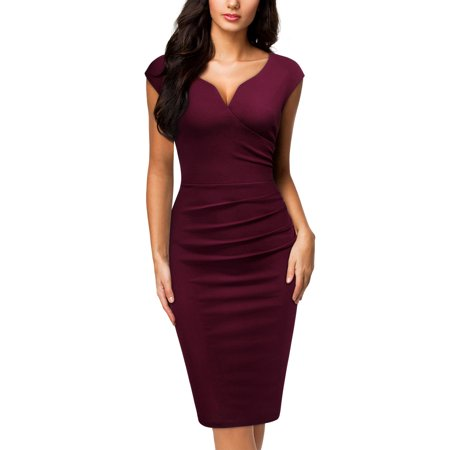 MIUSOL Women's Elegant Business Cocktail Party Sleeveless Ruffles Slim Fit Pencil Dress(Burgundy M)