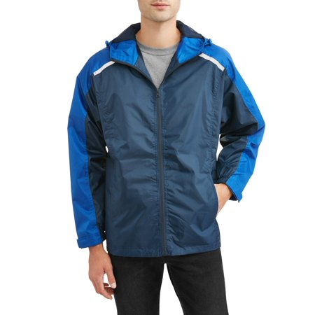 Men Lightweight Jacket - Climate Concepts Men's Full Zip Rip Stop Hooded Lightweight Jacket with Reflective Trim, up to Size 5XL