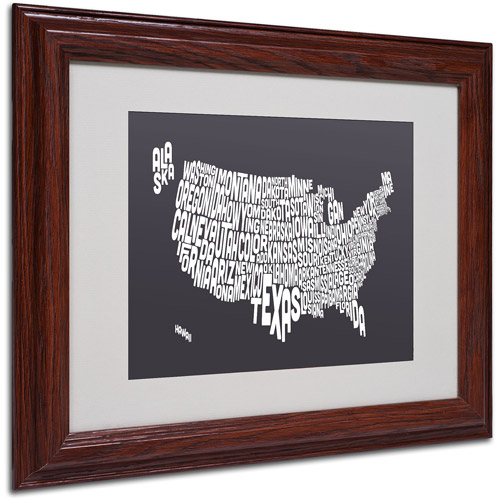 "Trademark Fine Art ""CHARCOAL-USA States Text Map"" Framed by Michael Tompsett"