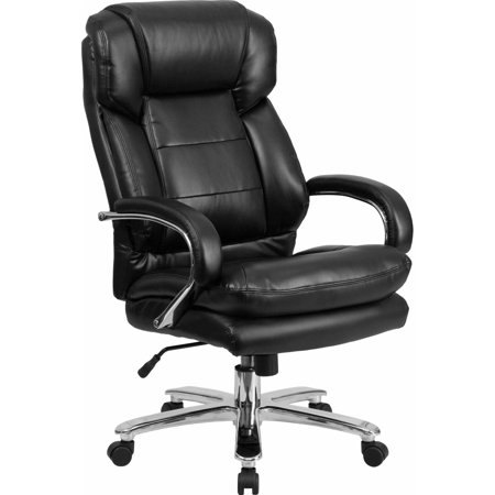 Flash Furniture Hercules Series 24 7 Intensive Use  Multi Shift  Big   Tall 500 Pound Capacity Black Leather Executive Swivel Chair With Loop Arms