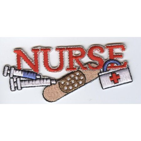 Red Nurse - Needle, Bandaid, Medical First Aid Kit - Iron On Applique/Embroidered (Music Band New Patch)