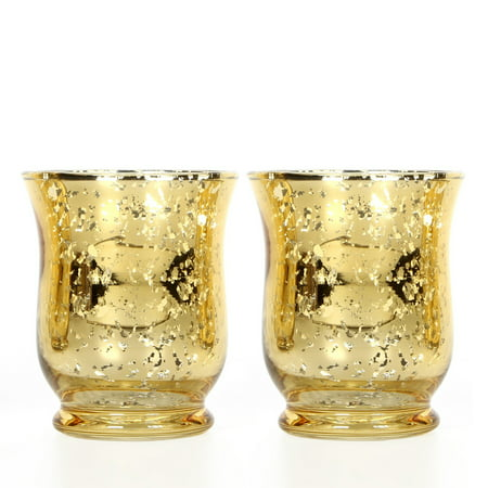 Mainstays Gold Mercury Glass Hurricane, Set of Two ()