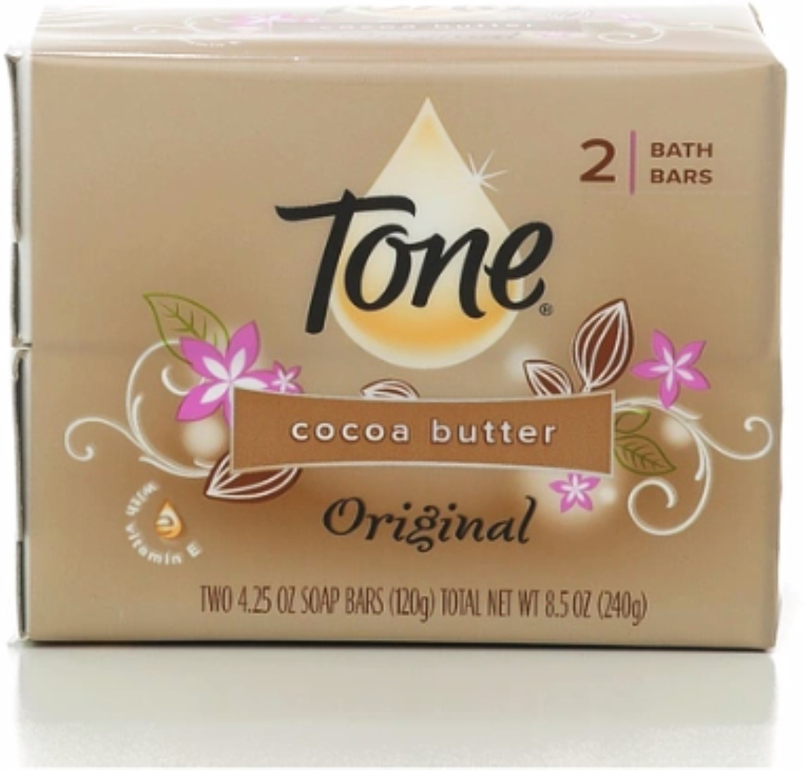 Tone Bath Bars, Cocoa Butter 4.25 oz bars, 2 ea (Pack of 4)
