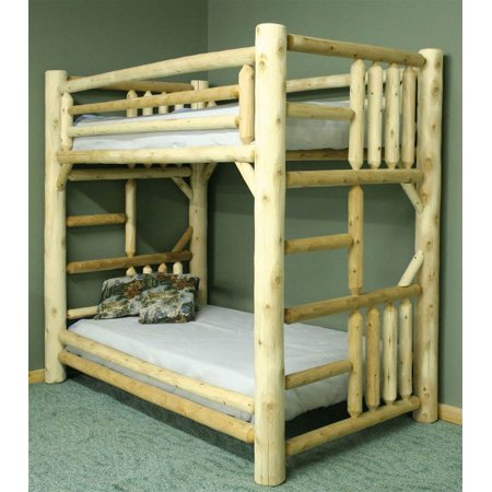 Rustic Style Twin Over Twin Bunk Bed Unfinished Walmart Com