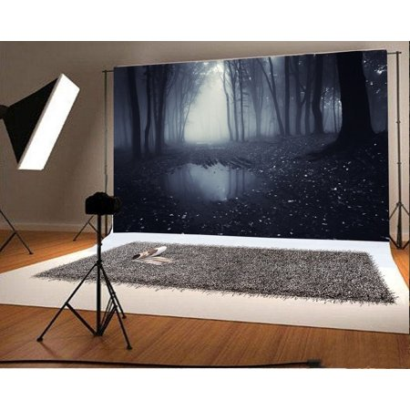 HelloDecor Polyster 7x5ft Photography Backdrop Fairytale Forest Trees Gloomy Pool Dirt Road Scary Fantasy Background Kids Children Adults Photo Studio Props for $<!---->