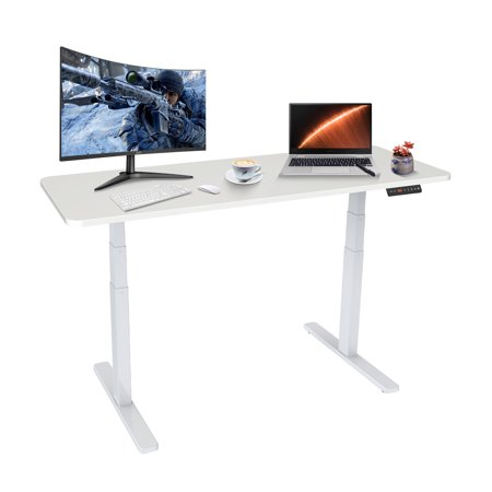 "Image of ""Dual Motor Electric Standing Desk Adjustable Expandable Sit to Stand Up Workstation, MDF Table Top, 23.6"""" - 49.2"""" Height, 42.5"""" - 73.6"""" Width"""