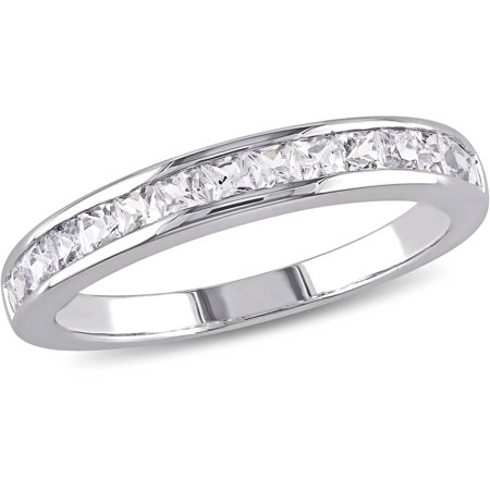 - 3/4 Carat T.G.W. Created White Sapphire Sterling Silver Anniversary Ring