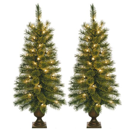 Jeco 3.5-foot Pre-lit Artificial Christmas Tree with Plastic Pot Stand (Set of 2) ()