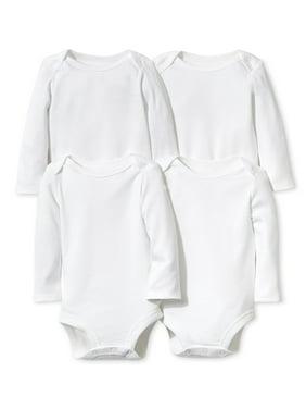 Little Star Organic Baby Boy or Girl Gender Neutral White Long Sleeve Bodysuits, 4-Pack