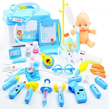 Kids Doctor Set | 34 Pieces Role Play Nurse Medical Box Kit with Electronic Stethoscope & Pretend Play Accessories - Educational Gift for 3, 4, 5, 6 Year Old Boys, Girls](Two Year Old Girl Toys)