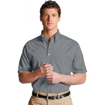 Ed Garments 1230 Men's Easy Care Short Sleeve Poplin Shirt - Titanium - Large