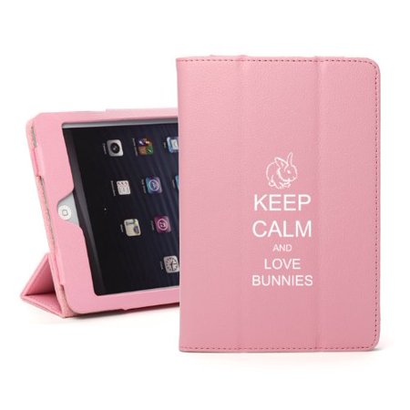 For Apple iPad Mini 4 Light Pink Leather Magnetic Smart Case Cover Keep Calm and Love Bunnies (Bunny Case Ipod 4)