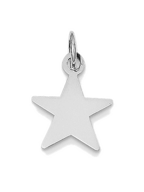 14K Yellow Gold Flashed Silver Plain Star Disc Charm Pendant - 18MM