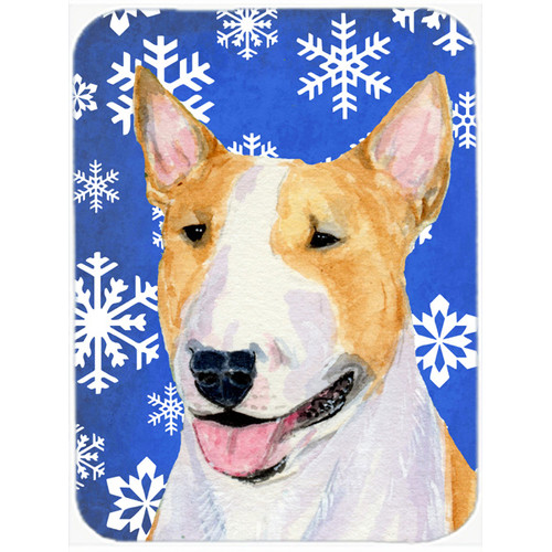 Caroline's Treasures Snowflakes Bull Terrier Glass Cutting Board