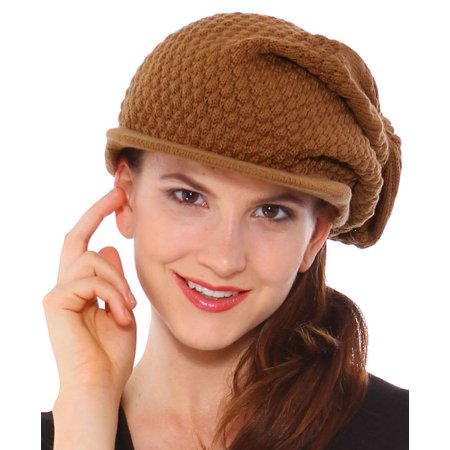 6ac73f09478 Simplicity - Simplicity Women s Winter Cotton Knit Slouchy Beanie with  Visor Brown - Walmart.com