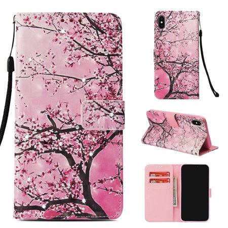 iPhone X 2017 Case, iPhone XS 2018 Case, Allytech 3D PU Leather Protective Cover & Pocket Lanyard Wallet with Cards Holder, Support Kickstand Slim Case for Apple iPhone X/ XS, Cherry Blossoms Apple Iphone Cherries
