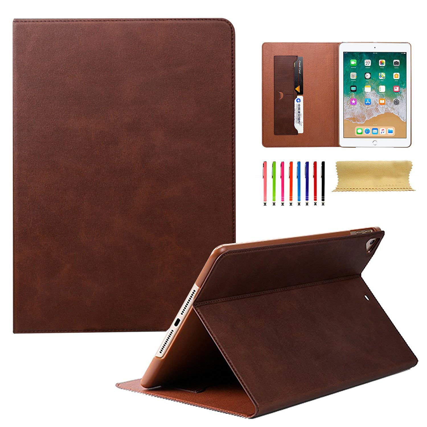 iPad mini 4 7.9 Inch Case, Goodest PU Leather Ultra Slim Fit Smart Cover Auto Sleep Wake Folio Stand Cards Slots Shockproof Lightweight Case Shell for Apple iPad mini 4th Gen Model A1550 A1538,Brown